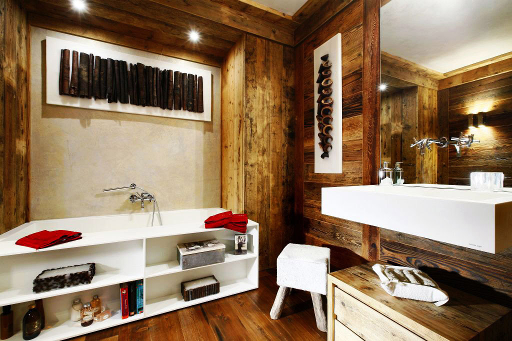 Bathroom, Large Mirror, Bath, Ampezzo Meleres in Cortina d'Ampezzo, Italy by Gianpaolo Zandegiacomo