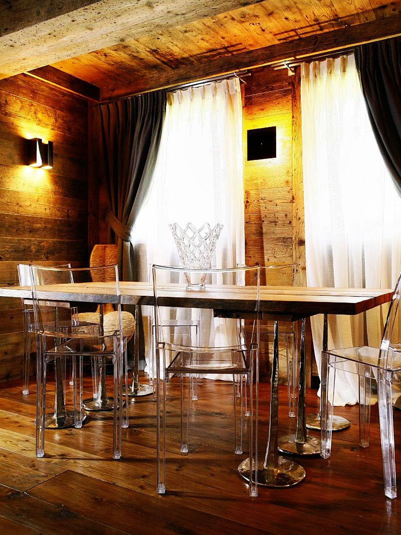 Dining Table, Clear Chairs, Ampezzo Meleres in Cortina d'Ampezzo, Italy by Gianpaolo Zandegiacomo