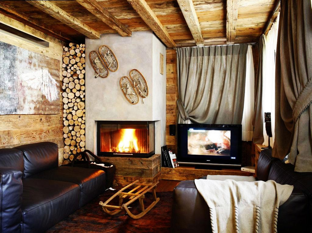 Fireplace, Log Store, Living Space, Ampezzo Meleres in Cortina d'Ampezzo, Italy by Gianpaolo Zandegiacomo
