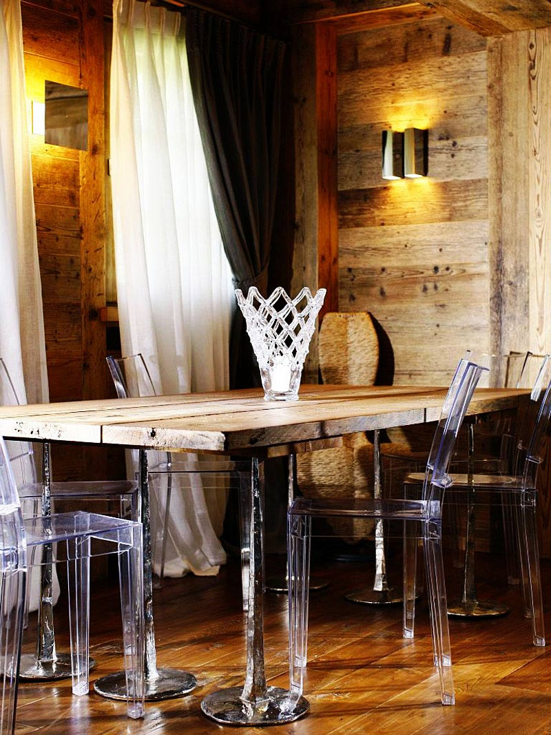 Rough Wood Dining Table, Ampezzo Meleres in Cortina d'Ampezzo, Italy by Gianpaolo Zandegiacomo