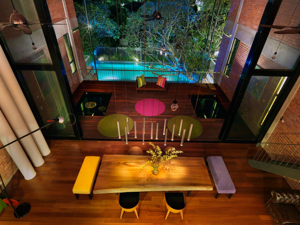 Dining Table, Lighting, Balcony, S11 House in Selangor, Malaysia by ArchiCentre