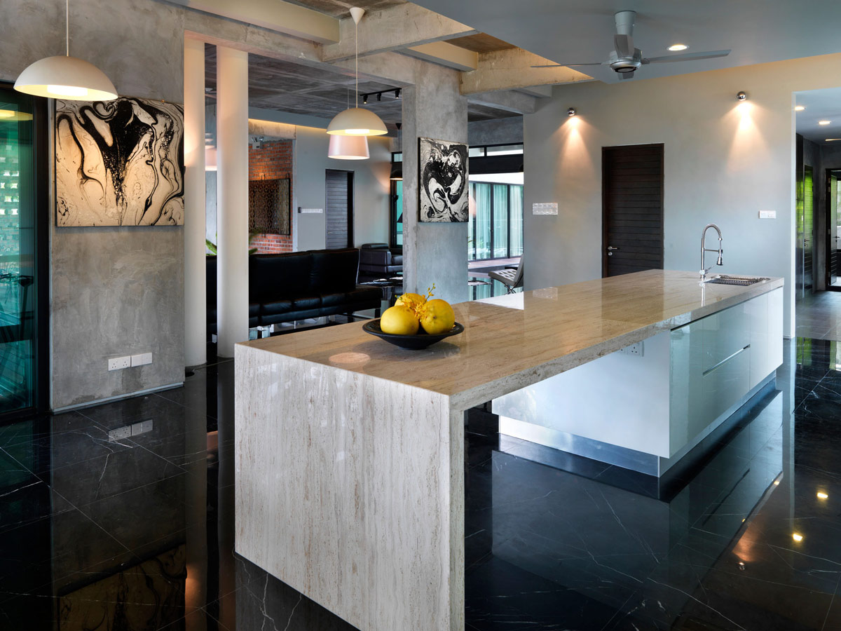 Kitchen Island, Grey Marble, S11 House in Selangor, Malaysia by ArchiCentre