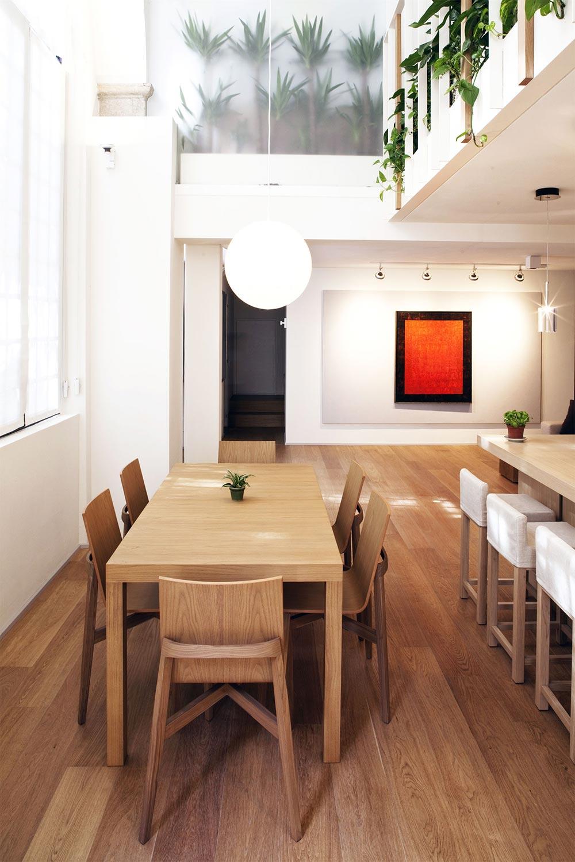 Dining Table, Lighting, Art, T House in Sant'Ambrogio, Milan by Takane Ezoe + Modourbano