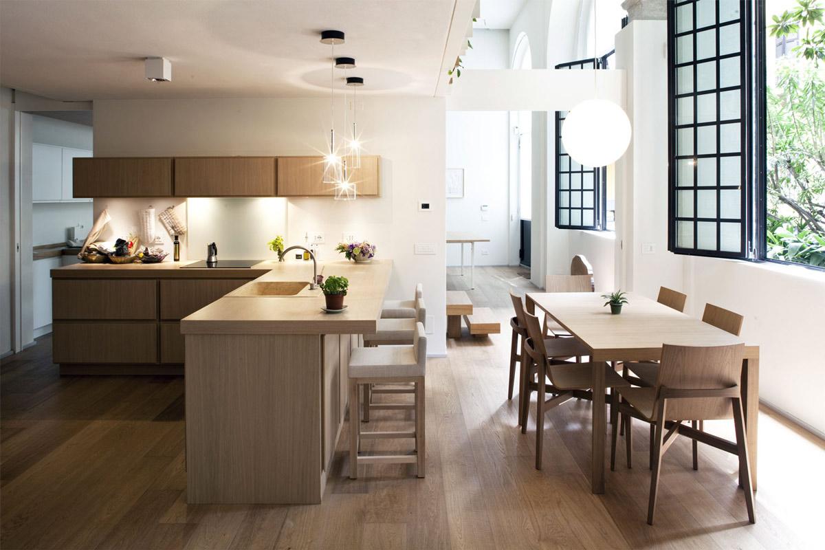Kitchen, Breakfast Bar, T House in Sant'Ambrogio, Milan by Takane Ezoe + Modourbano