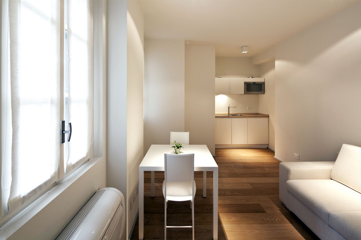 Kitchen, Dining, Living Space, T House in Sant'Ambrogio, Milan by Takane Ezoe + Modourbano