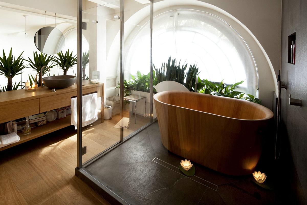 Wooden Bath, Glass Enclosure, T House in Sant'Ambrogio, Milan by Takane Ezoe + Modourbano