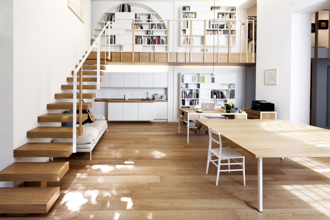 Wooden Stairs, Mezzanine, T House in Sant'Ambrogio, Milan by Takane Ezoe + Modourbano