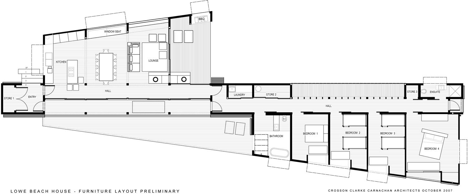 Furniture Floor Plan, Tutukaka House in New Zealand by Crosson Clarke Carnachan Architects