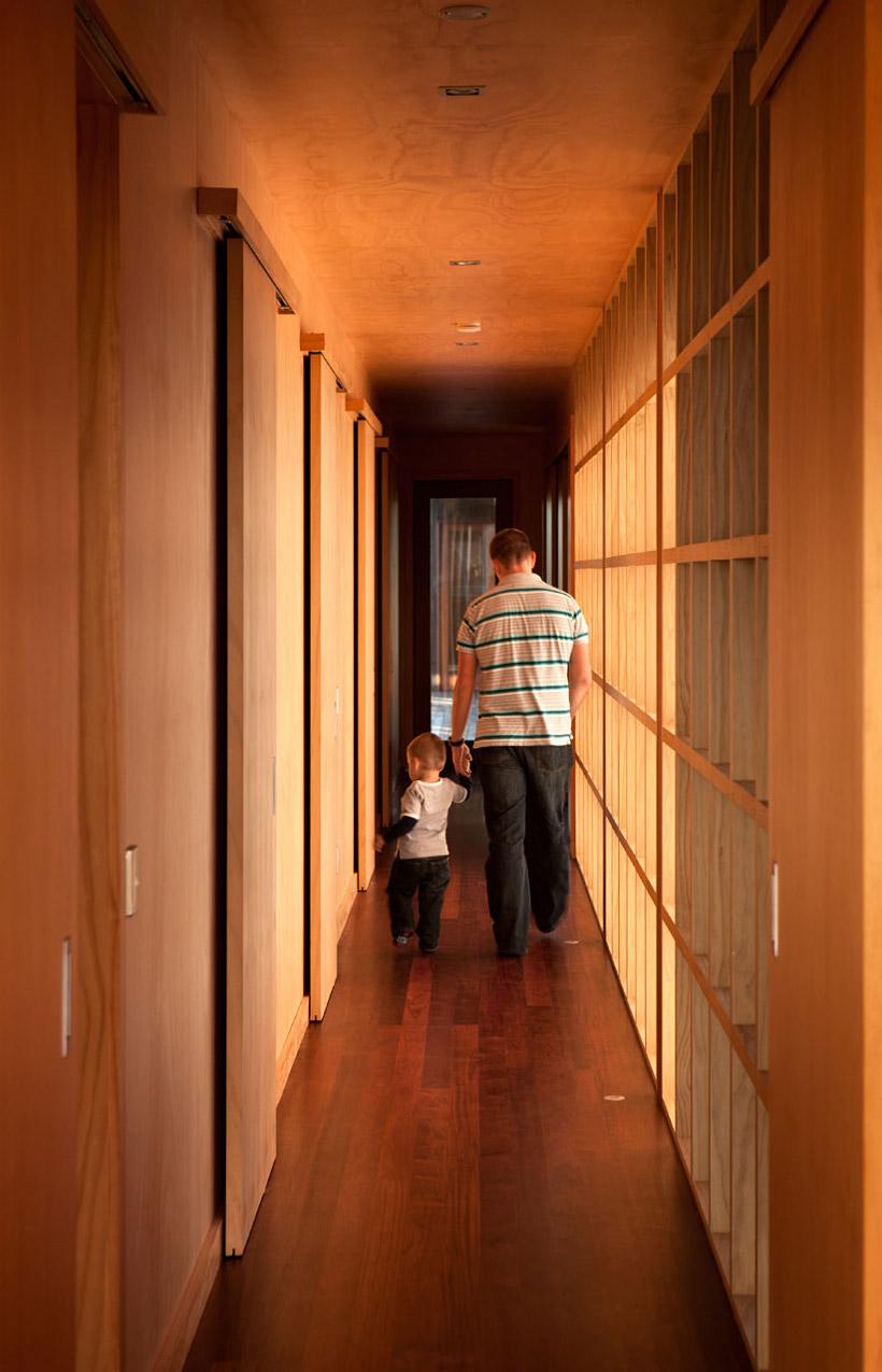 Hallway, Tutukaka House in New Zealand by Crosson Clarke Carnachan Architects