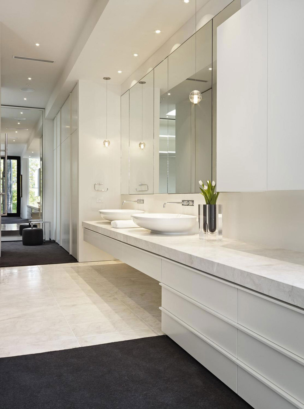 Bathroom, Sinks, Verdant Avenue Home in Melbourne, Australia by Robert Mills Architects