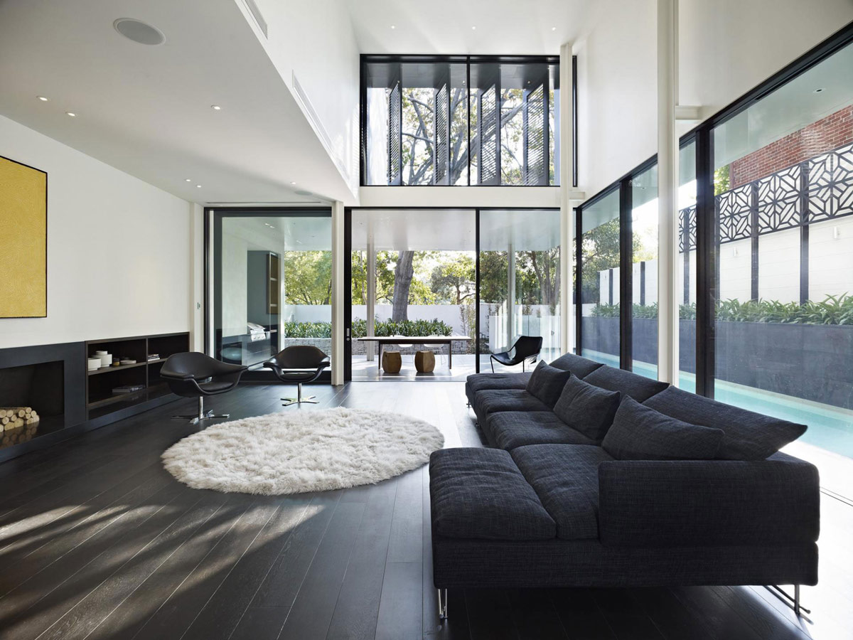 Dark Sofa, Living Room, Verdant Avenue Home in Melbourne, Australia by Robert Mills Architects