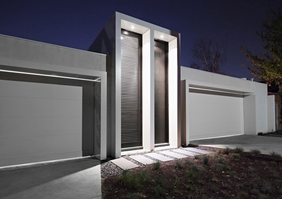Entrance, Garages, Verdant Avenue Home in Melbourne, Australia by Robert Mills Architects