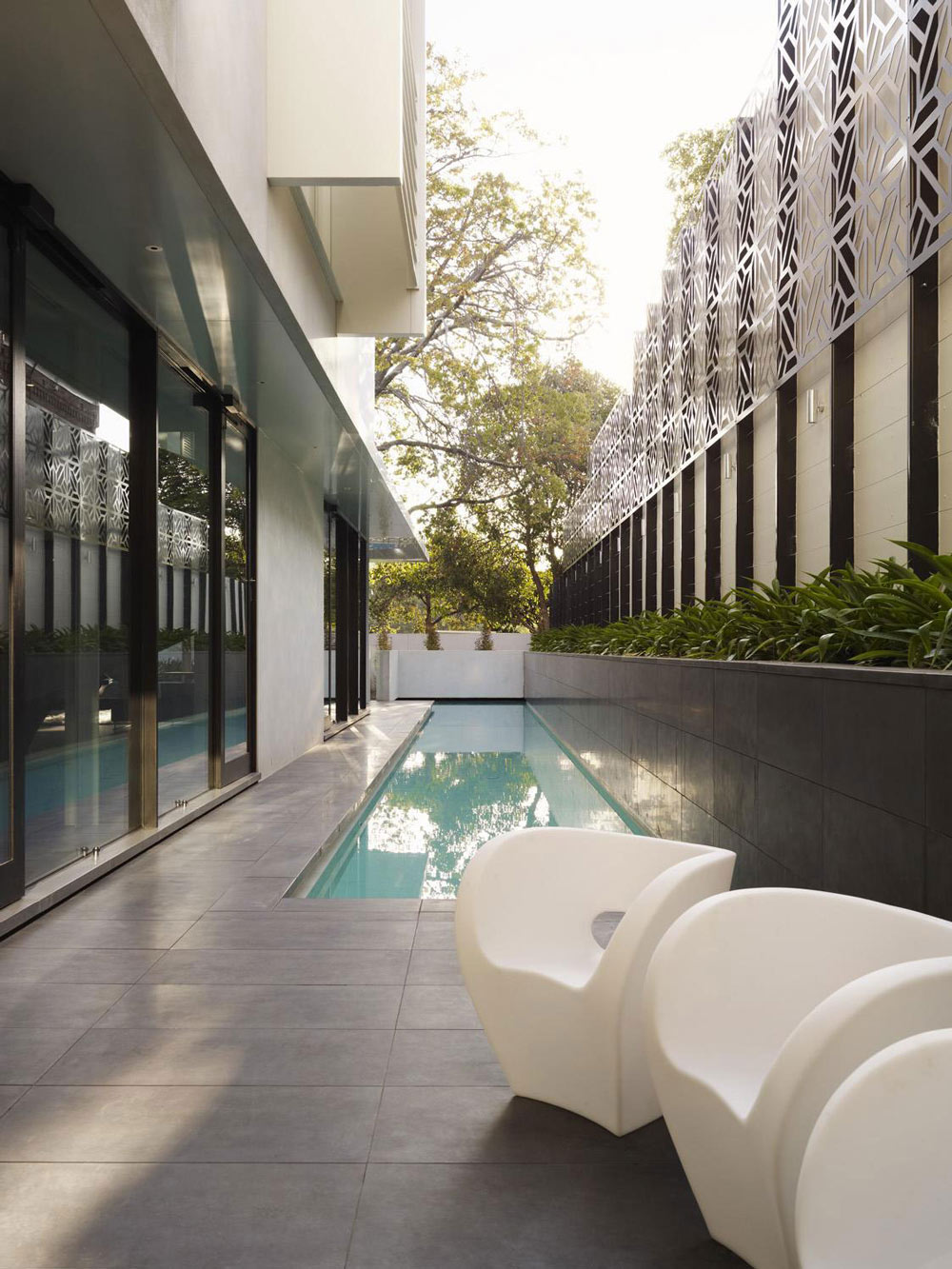 Outdoor Pool, Terrace, Verdant Avenue Home in Melbourne, Australia by Robert Mills Architects