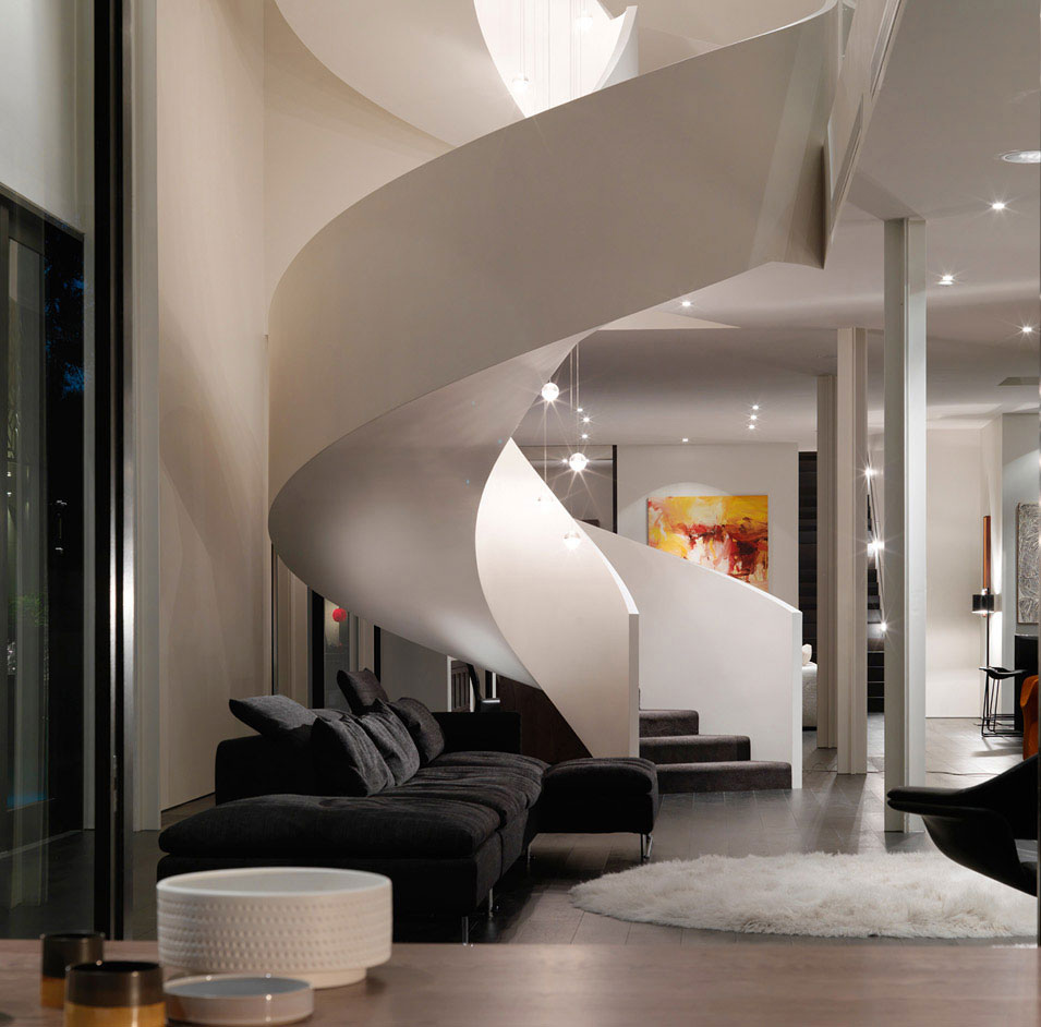 Living Space, Stairs, Sofa, Verdant Avenue Home in Melbourne, Australia by Robert Mills Architects