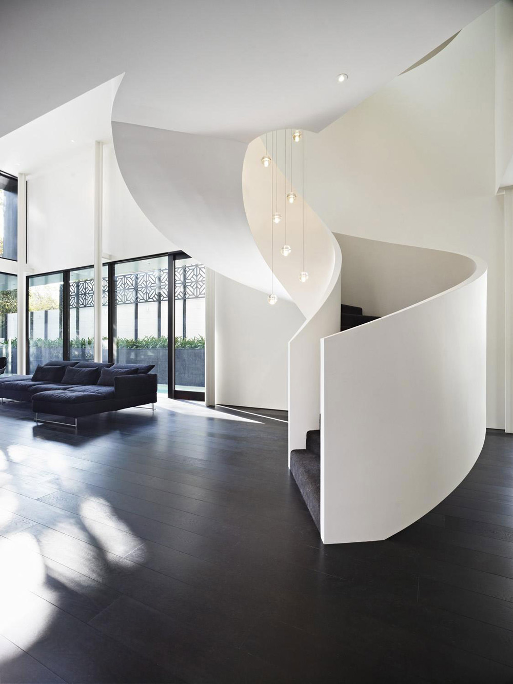 Swirl Stairs, Verdant Avenue Home in Melbourne, Australia by Robert Mills Architects