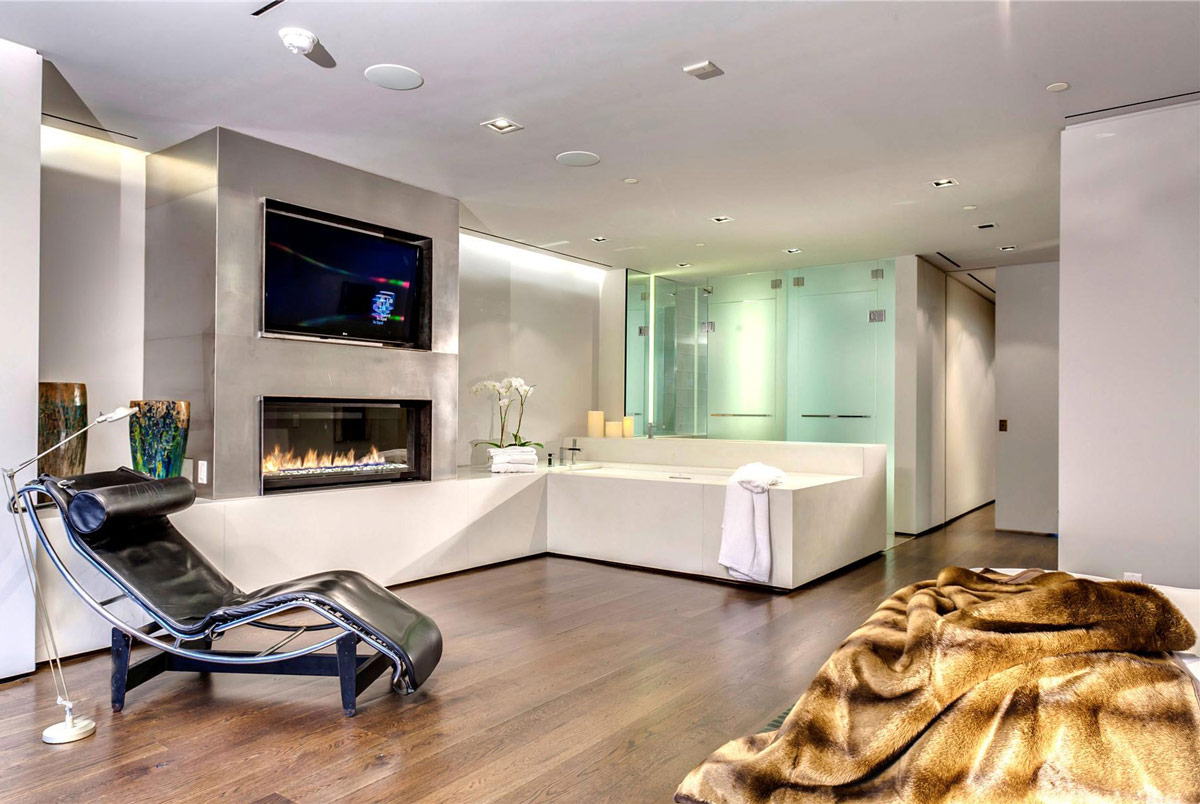 Bathroom, Modern Fireplace, Glass Shower, Converted Townhouse, in Greenwich Village in New York City