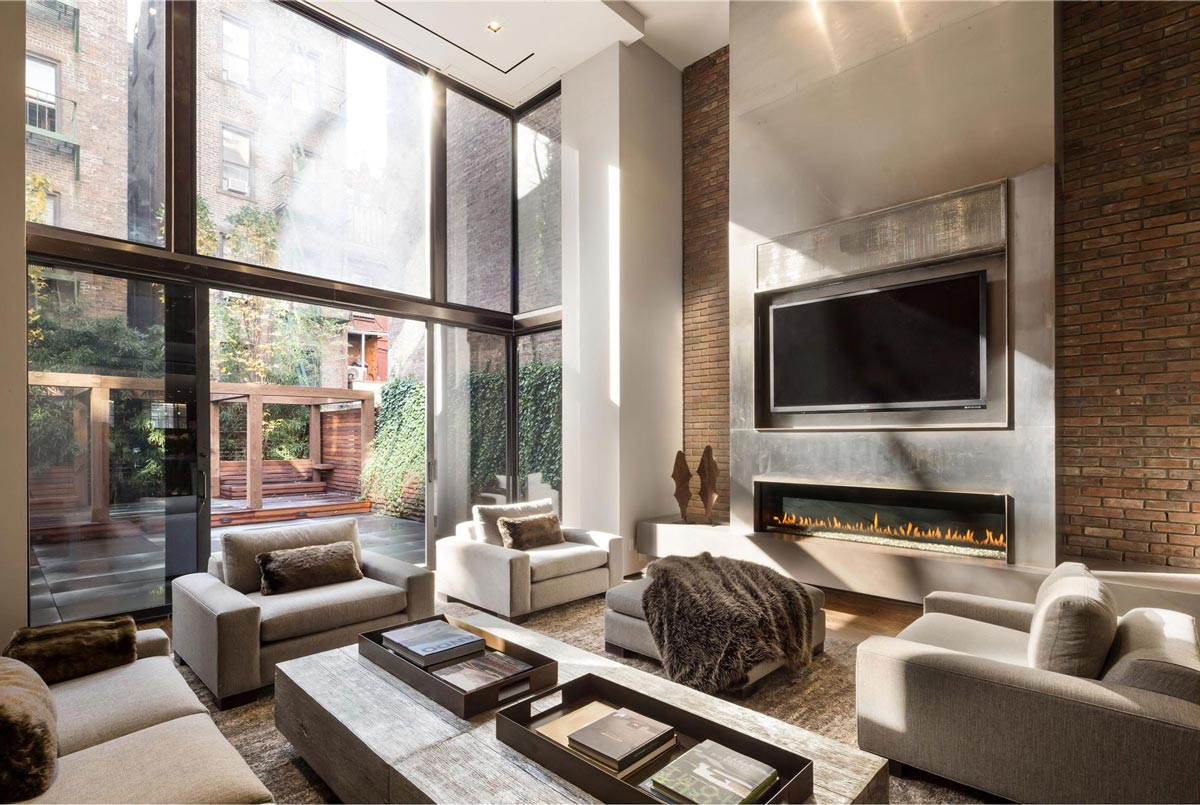Contemporary Fireplace, Patio Doors, Converted Townhouse, in Greenwich Village in New York City