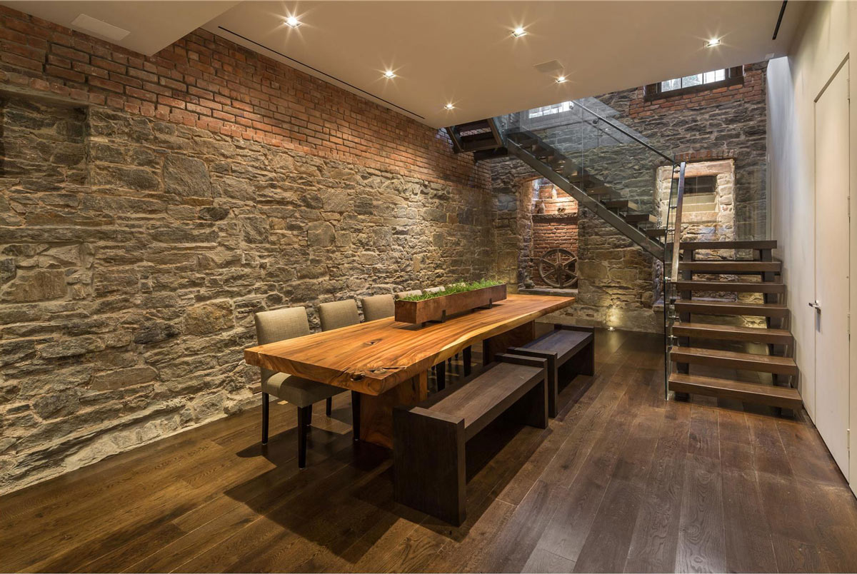 Dining Room, Stone & Brick Walls, Dining Table, Converted Townhouse, in Greenwich Village in New York City
