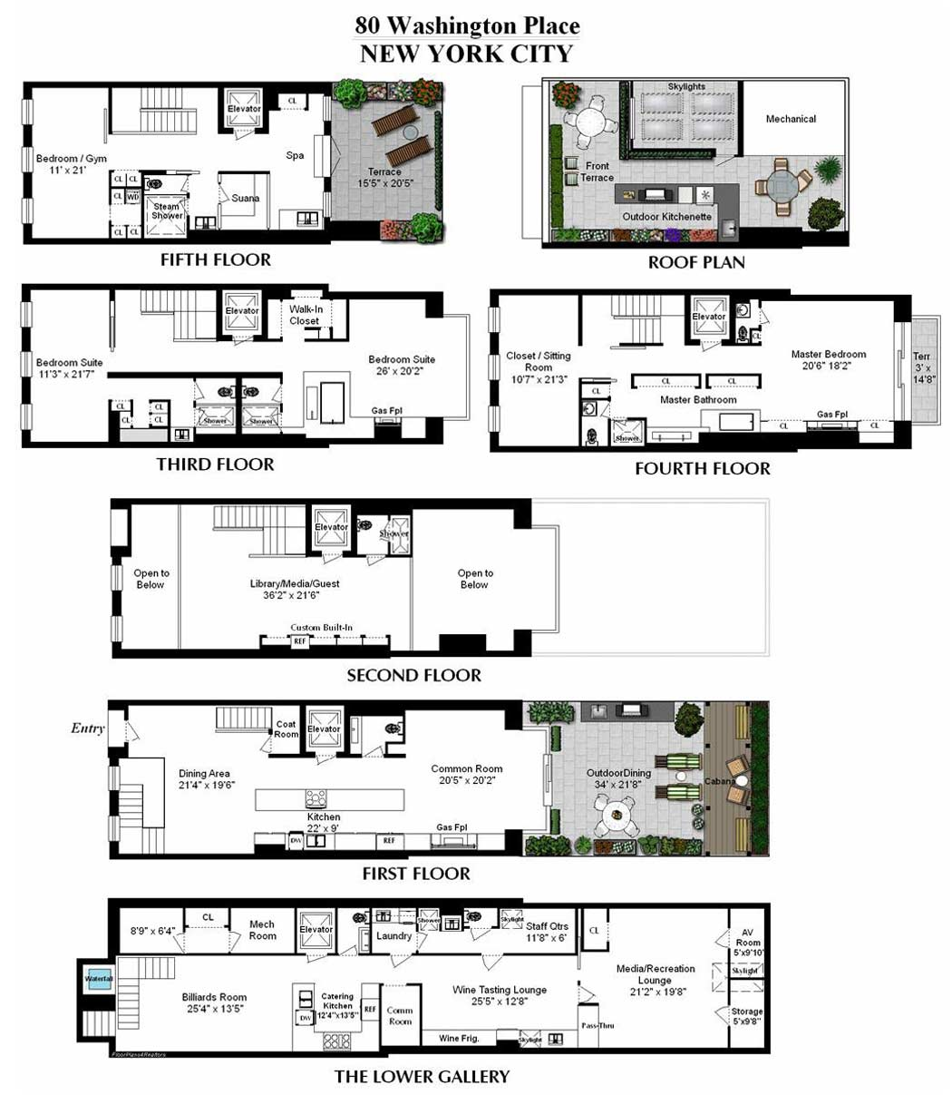 Floor plans converted townhouse in greenwich village in for Townhouse floor plans