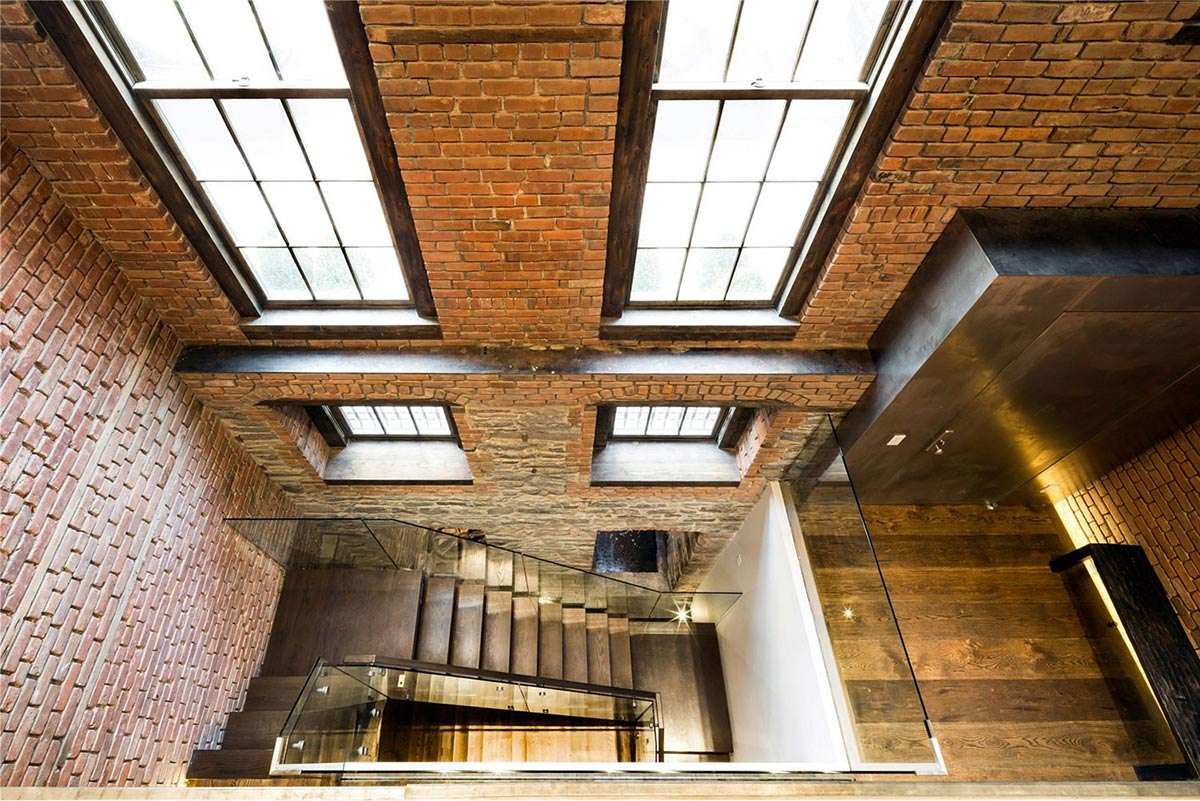 Glass & Wood Stairs, Converted Townhouse, in Greenwich Village in New York City