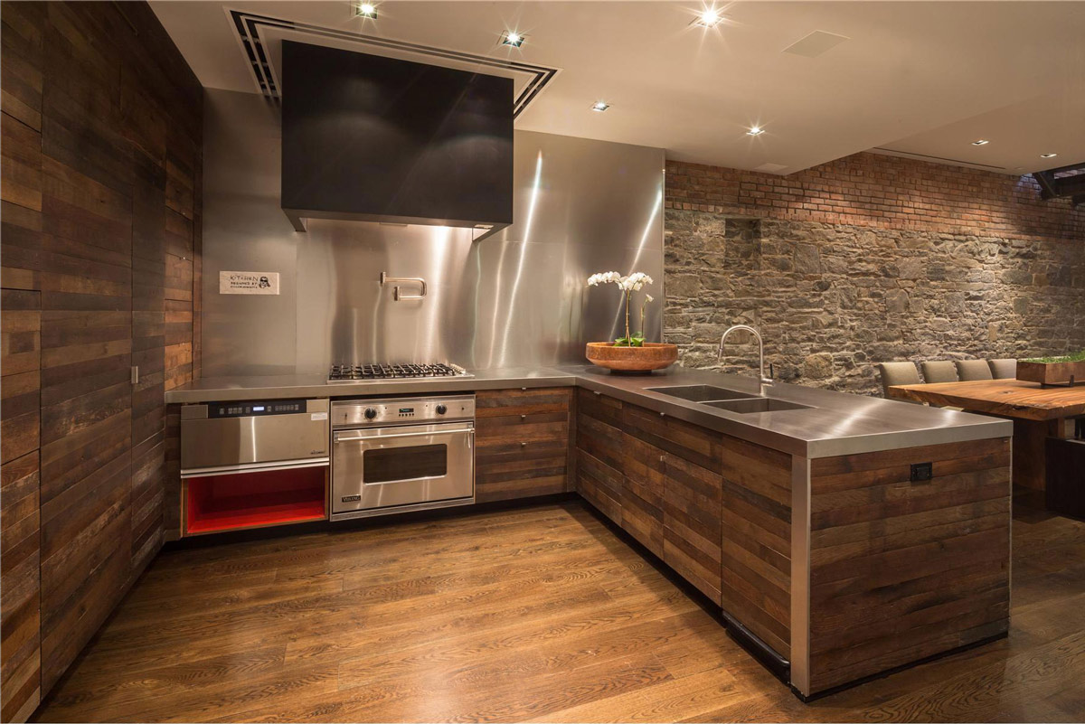 Kitchen, Wood & Stainless Steel, Converted Townhouse, in Greenwich Village in New York City