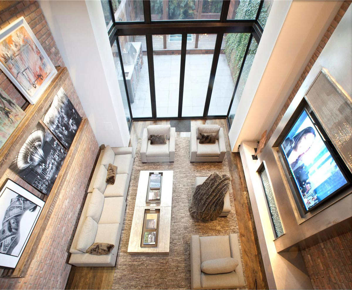 Living Space, Sofas, Coffee Table, Converted Townhouse, in Greenwich Village in New York City