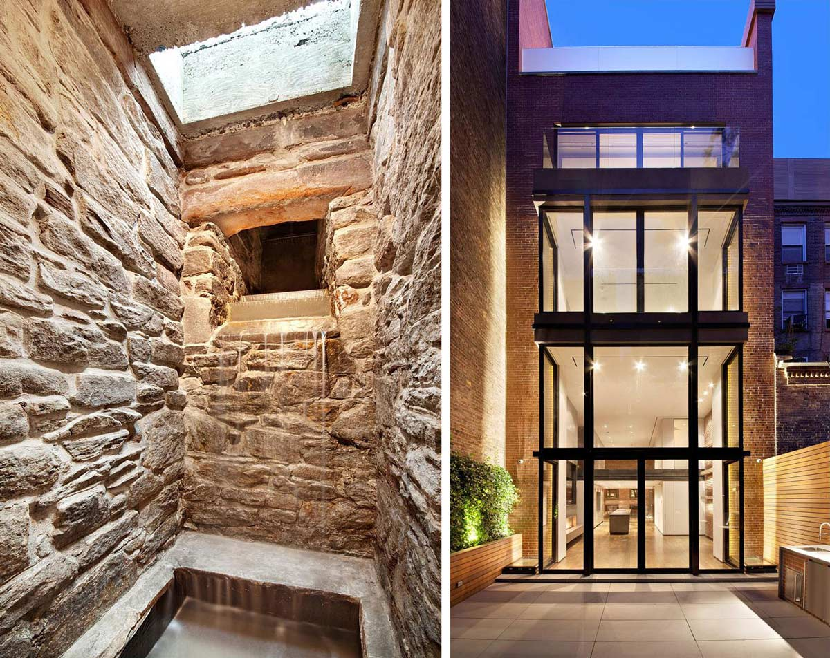 Waterfall, Terrace, Glass Walls, Converted Townhouse, in Greenwich Village in New York City