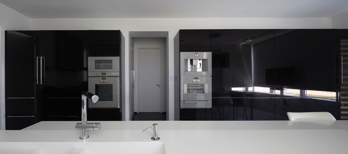Black Kitchen, White Island, Modern Apartment in Buenos Aires, Argentina by vEstudio Arquitectura