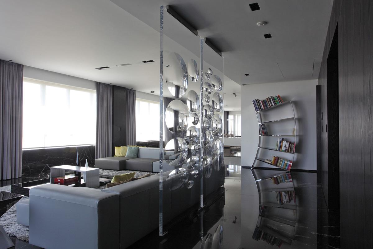 Dark Marble Floor, Art, Bookshelf, Modern Apartment in Buenos Aires, Argentina by vEstudio Arquitectura