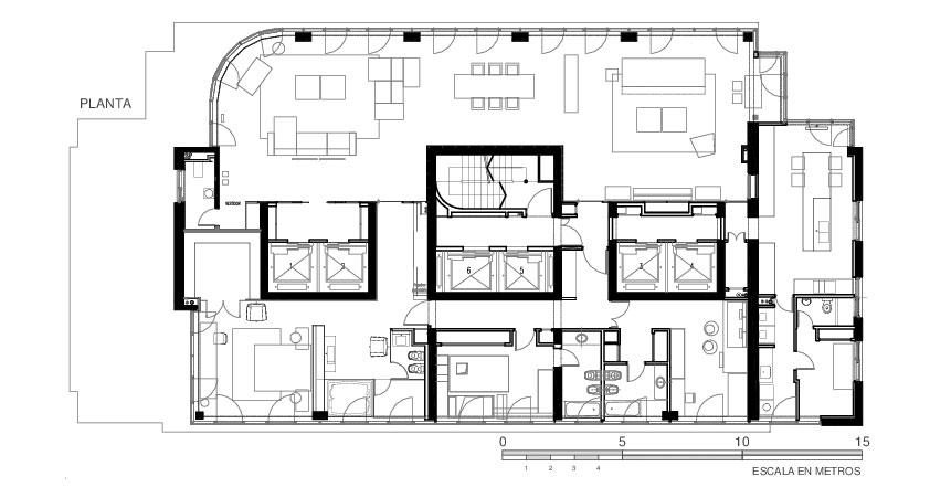 Floor Plan, Modern Apartment in Buenos Aires, Argentina by vEstudio Arquitectura