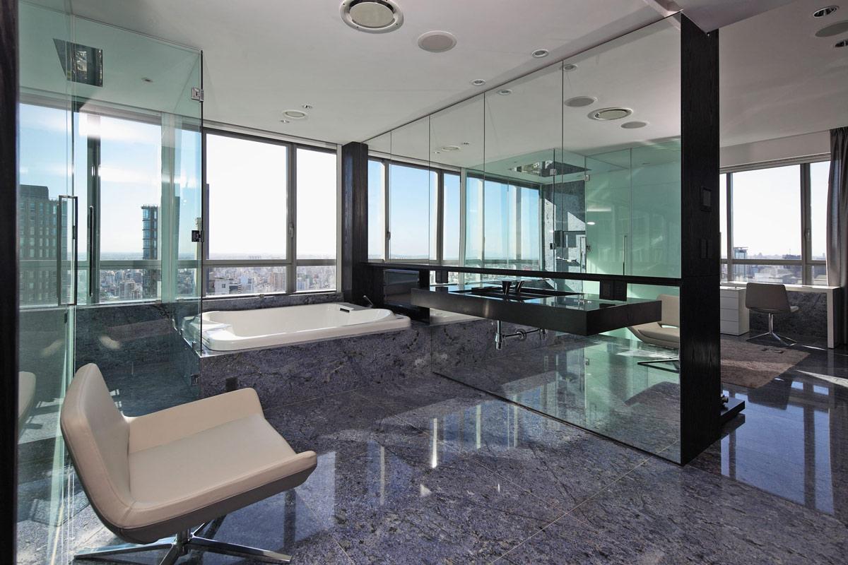 Glass Shower Large Mirrors Sink Bath Modern Apartment