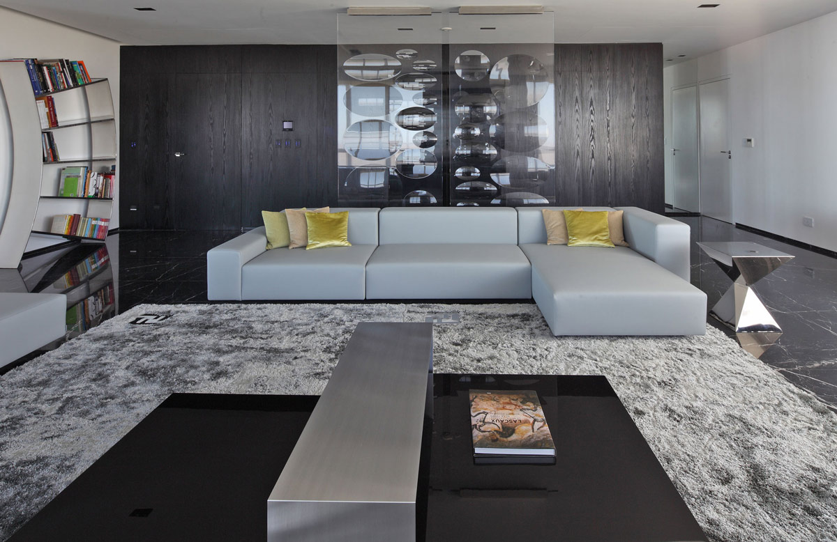 Grey Rug, Modern Grey Sofa, Living Space, Modern Apartment in Buenos Aires, Argentina by vEstudio Arquitectura