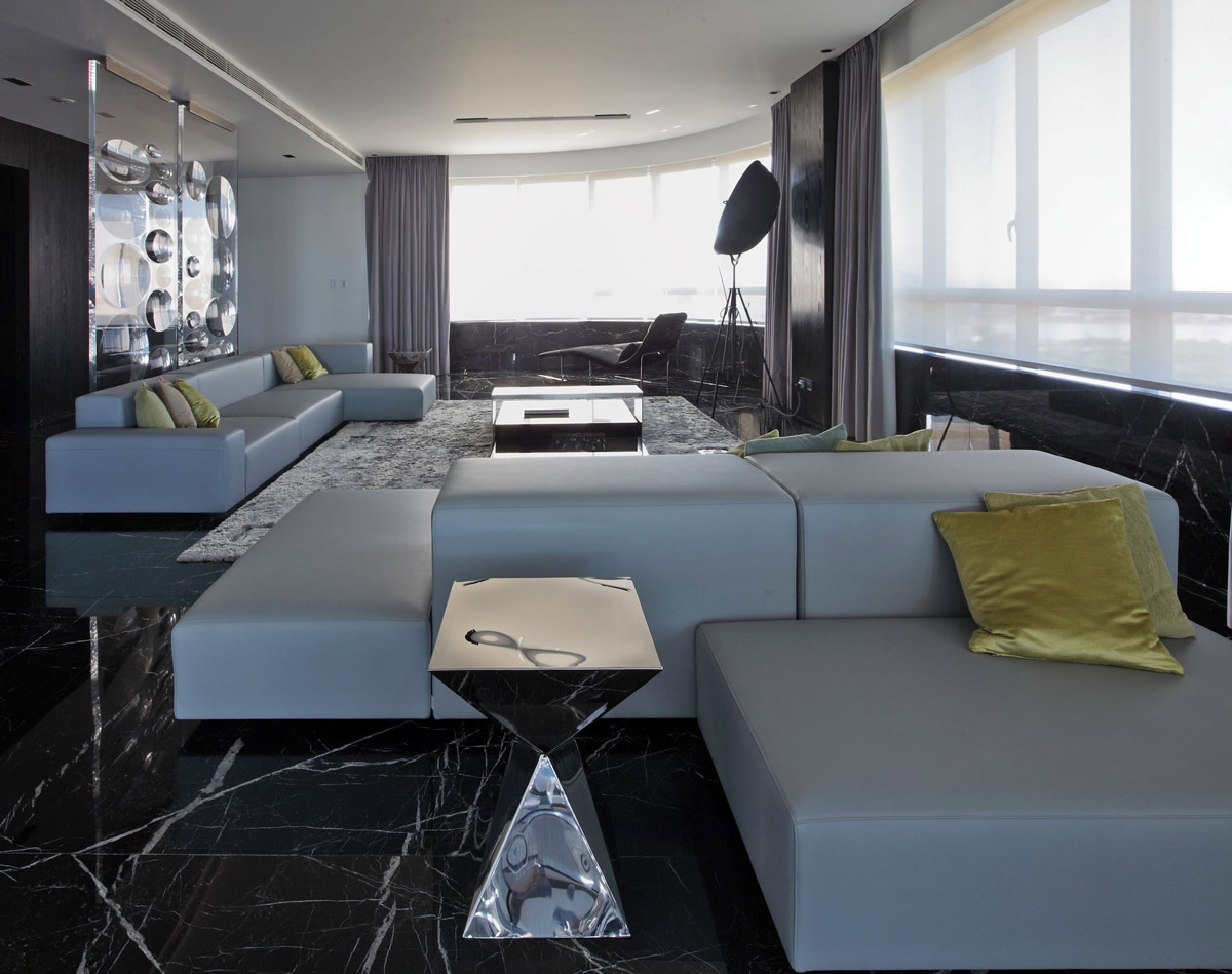 Grey Sofas Dark Marble Floor Tiles Modern Apartment In