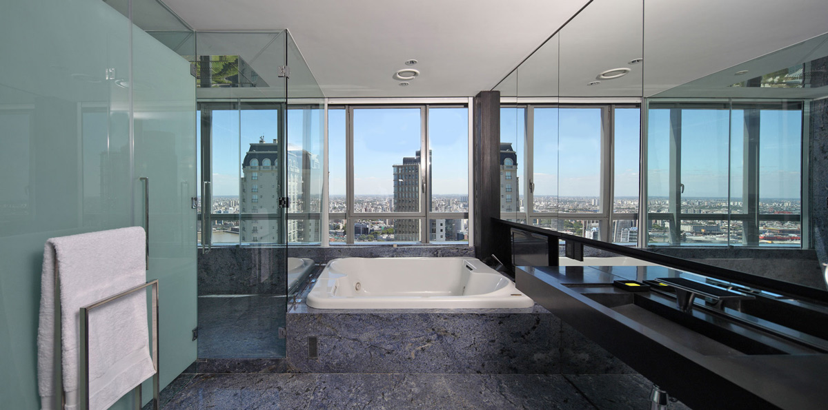 Large Bath, Shower Room, Views, Modern Apartment in Buenos Aires, Argentina by vEstudio Arquitectura