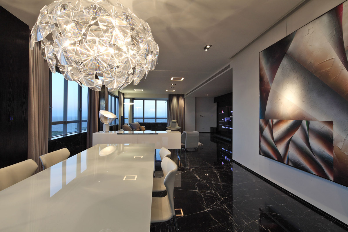 Contemporary Lighting, Dining Table, Modern Apartment in Buenos Aires, Argentina by vEstudio Arquitectura