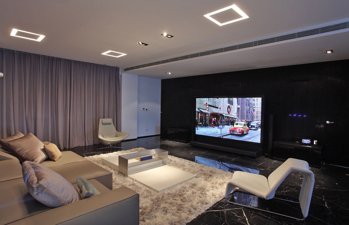Living Room, Rug, Large TV, Lighting, Modern Apartment in Buenos Aires, Argentina by vEstudio Arquitectura