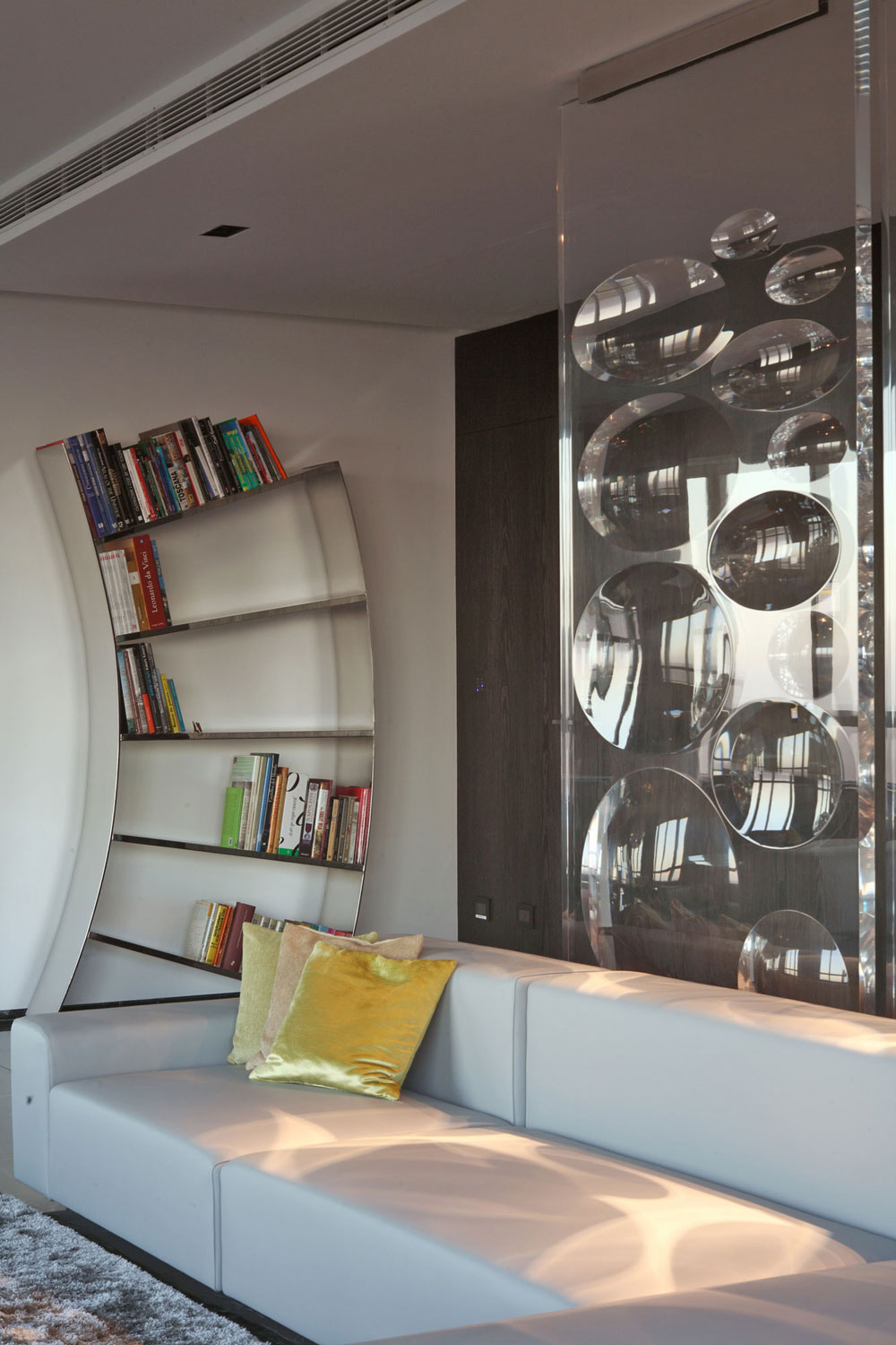 Modern Bookshelf, Sofa, Modern Apartment in Buenos Aires, Argentina by vEstudio Arquitectura