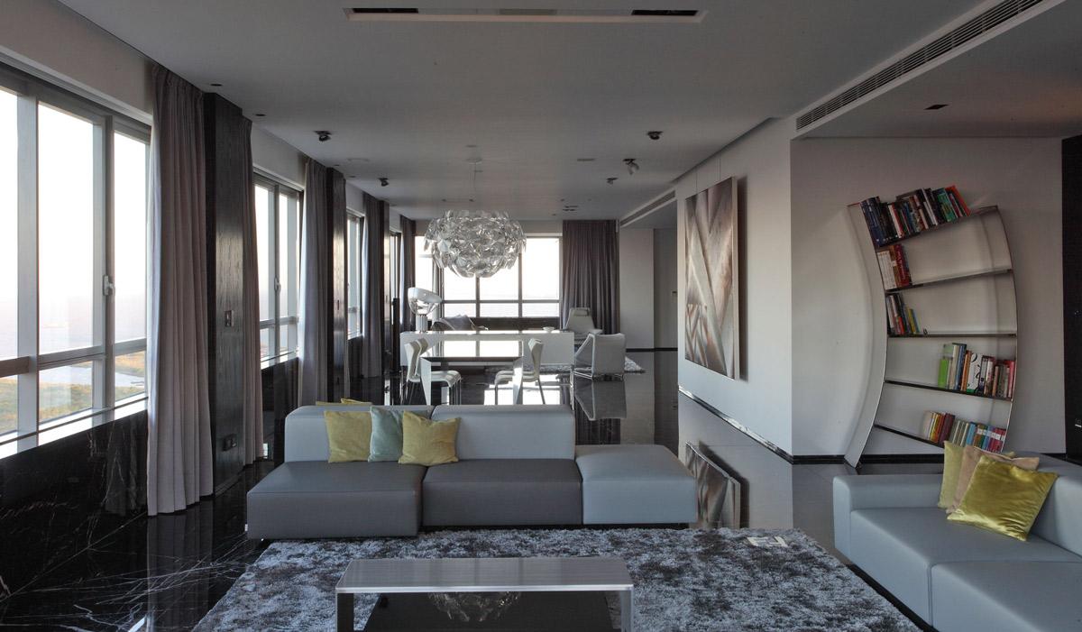 Sofas, Lighting, Bookshelf, Modern Apartment in Buenos Aires, Argentina by vEstudio Arquitectura