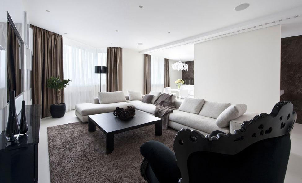 Brown Rug, Black Coffee Table, Sofa, Apartment in Zelenograd, Russia by Alexandra Fedorova