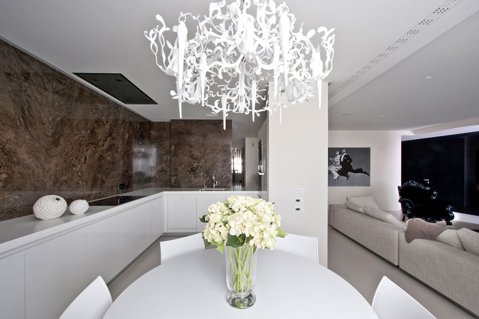 Kitchen, Dining Table, Living Spaces, Apartment in Zelenograd, Russia by Alexandra Fedorova