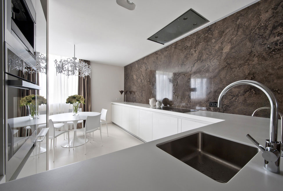 Kitchen, Marble Walls, White Counters, Apartment in Zelenograd, Russia by Alexandra Fedorova
