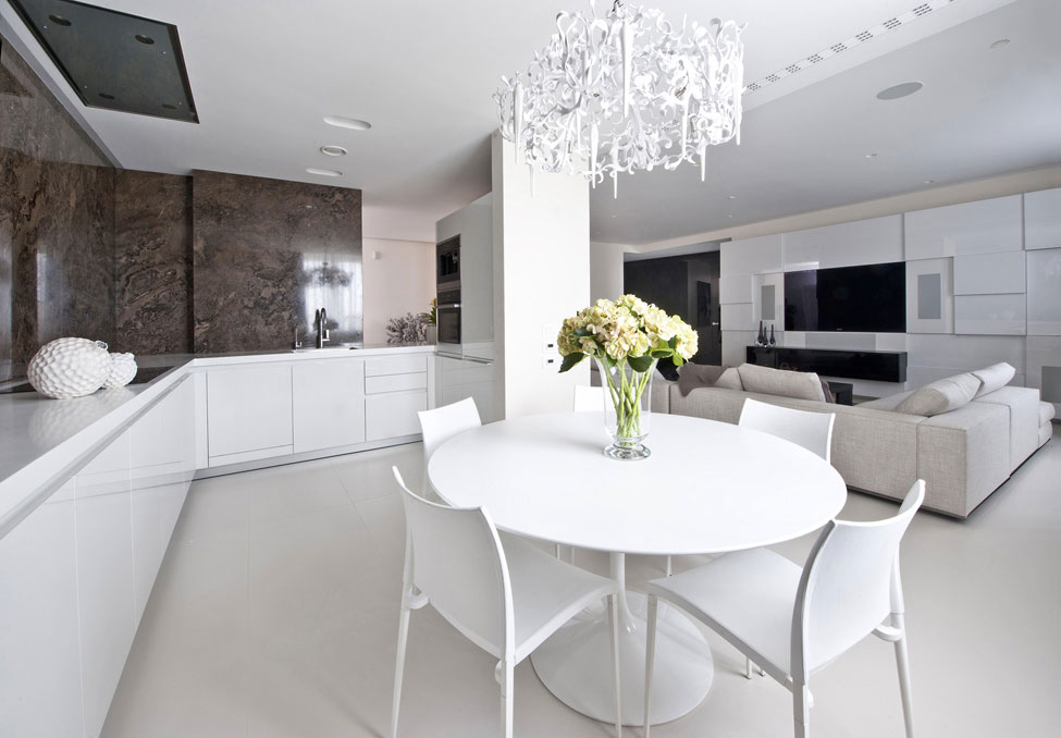 White Dining Table, Lighting, Apartment in Zelenograd, Russia by Alexandra Fedorova