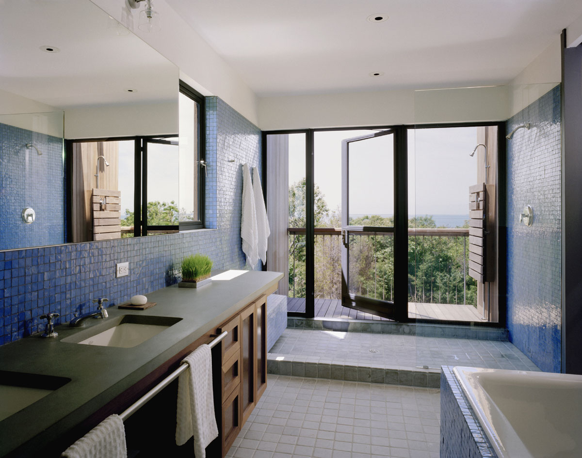 Bathroom, Glass Shower, Blue Tiles, Bluff House in Montauk, New York by Robert Young