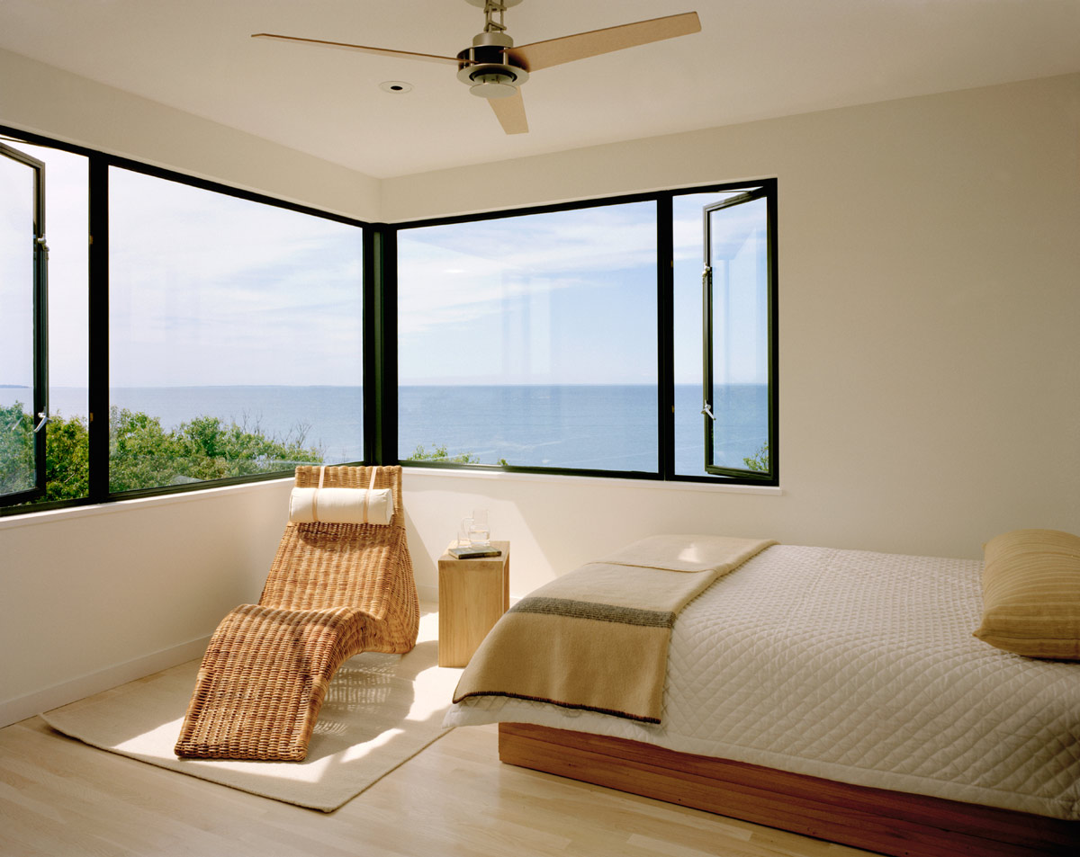 Bedroom, Sea Views, Bluff House in Montauk, New York by Robert Young