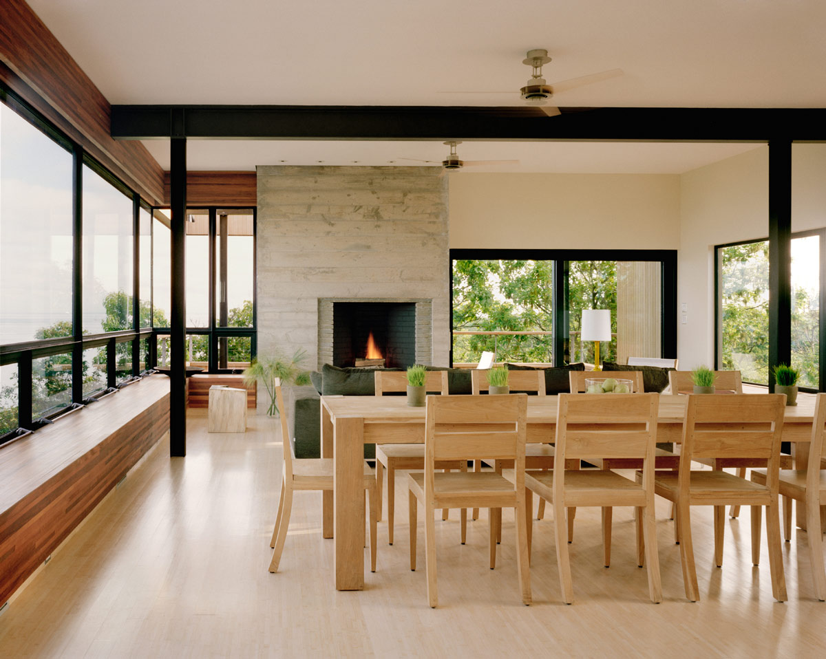 Dining Table, Fireplace, Bluff House in Montauk, New York by Robert Young
