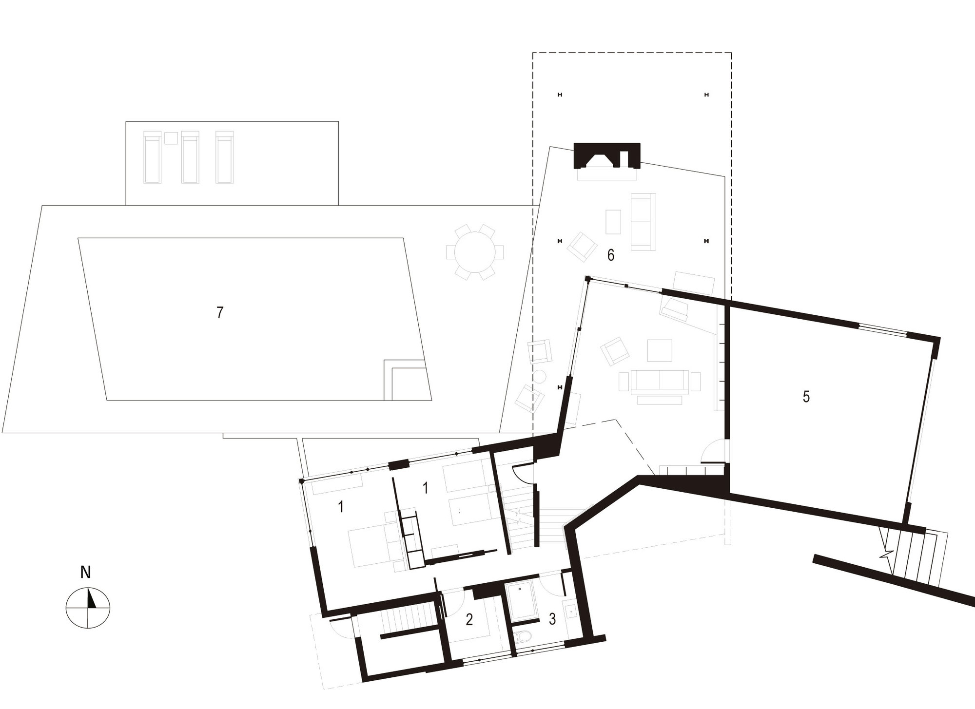 Lower Floor Plan, Bluff House in Montauk, New York by Robert Young