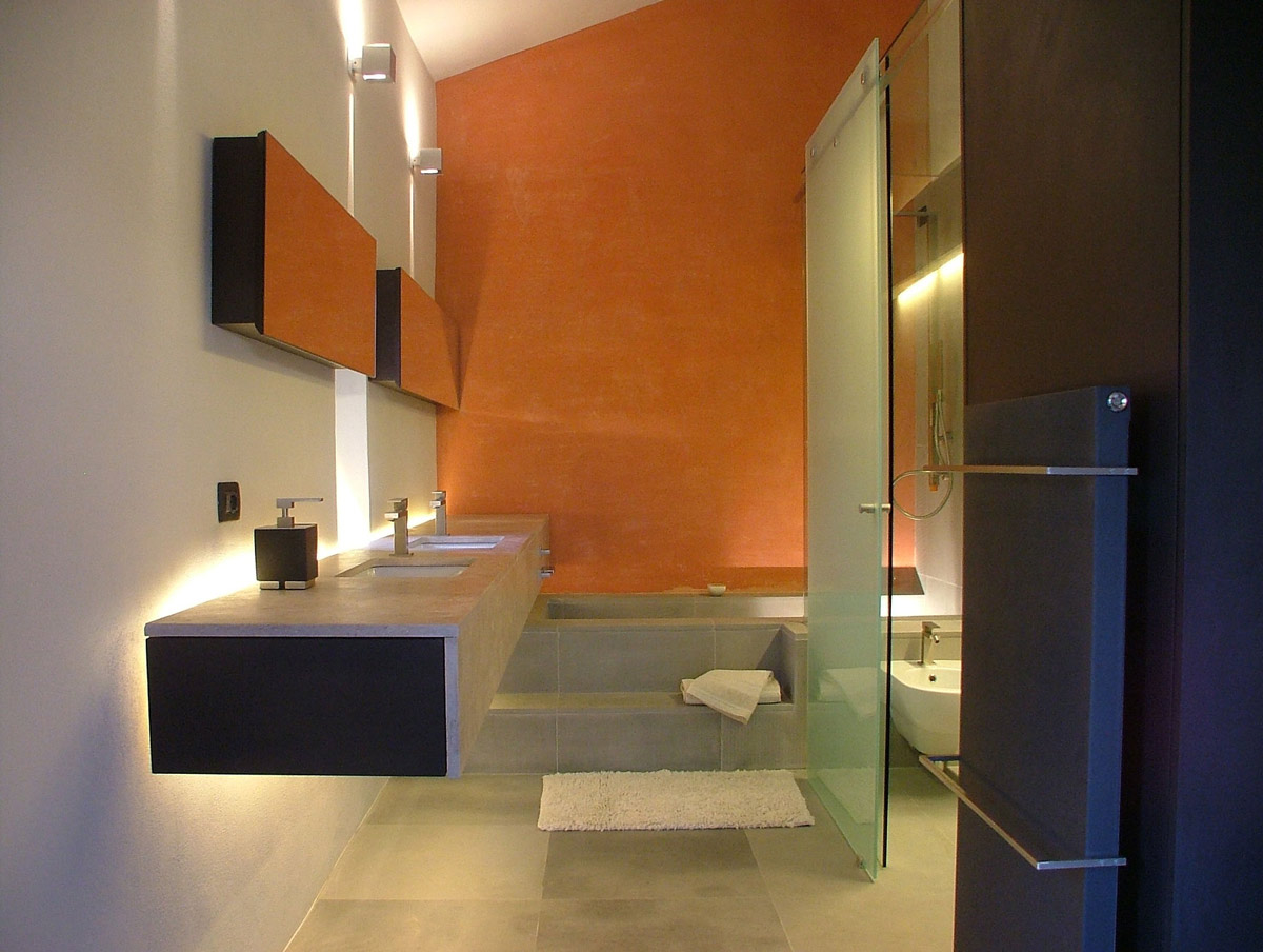 Bathroom, Orange Walls, Glass Door, Torre Moravola Boutique Hotel in Montone, Italy