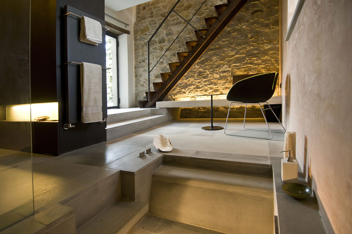 Bathroom, Stairs, Torre Moravola Boutique Hotel in Montone, Italy