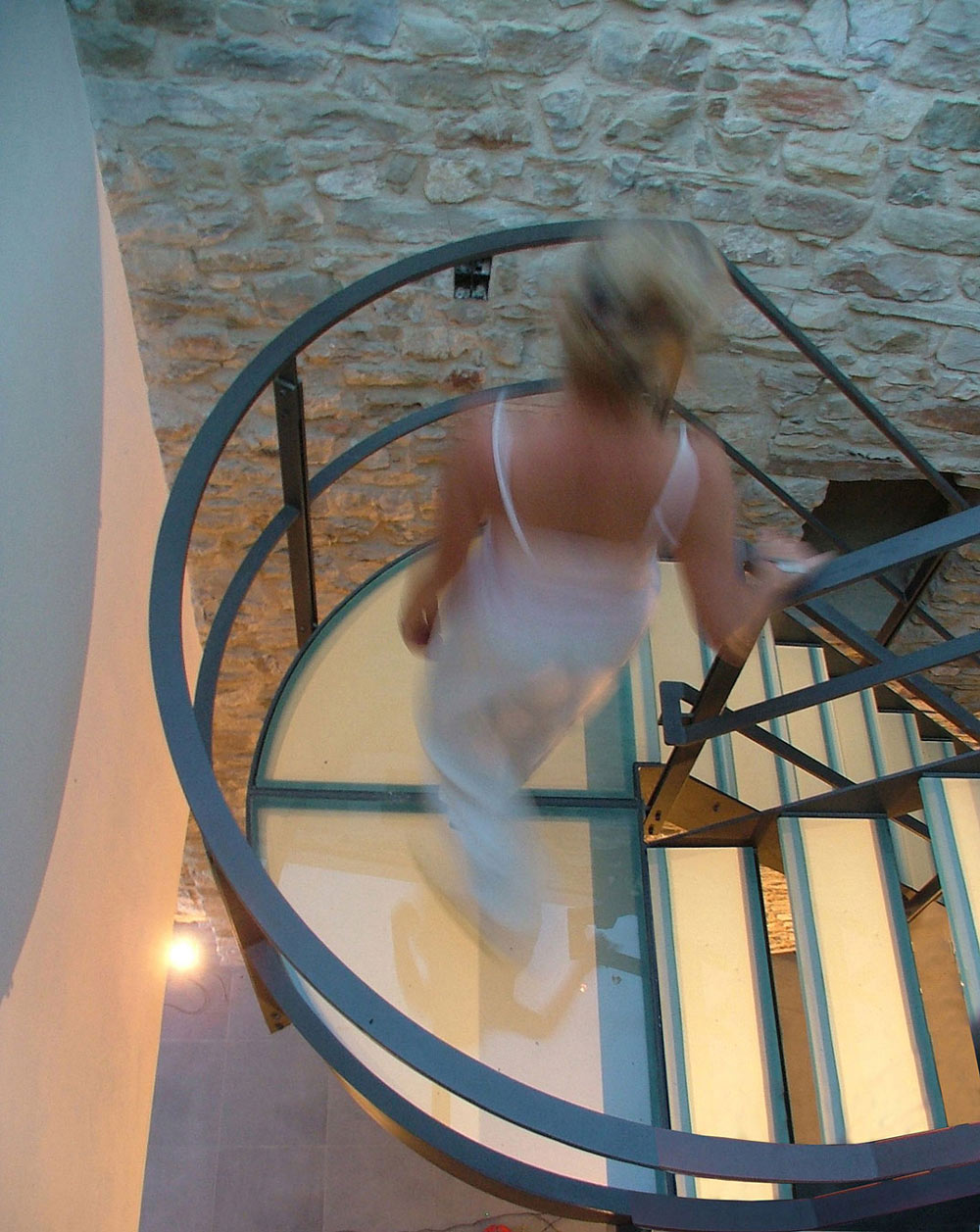 Modern Glass & Metal Stairs, Torre Moravola Boutique Hotel in Montone, Italy