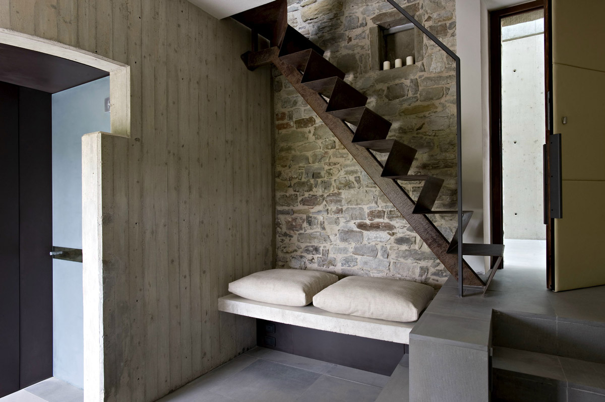 Rustic Stairs, Stone Wall, Seating, Torre Moravola Boutique Hotel in Montone, Italy